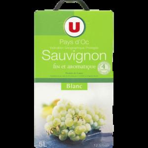 Vin blanc IGP Pays d'Oc Sauvignon U, fontaine à vin de 5 litres