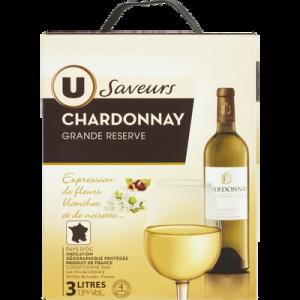 Vin blanc Pays d'Oc IGP Chardonnay grande réserve U SAVEURS, fontaineà vin de 3l