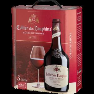Vin rouge AOC Côtes du Rhône CELLIER DES DAUPHINS, 3l