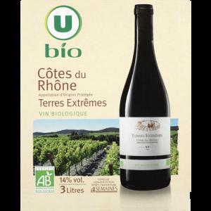 Vin rouge AOP Côtes du Rhône Terres Extrêmes U BIO, fontaine à vin de3l