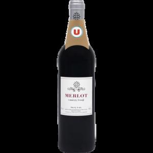 Vin rouge IGP Pays d'OC Merlot U, 75cl