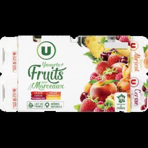 Yaourt aux morceaux de fruits panachés U, 16x125g