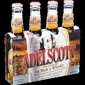 Bière ambrée au malt à whisky ADELSCOTT, 5,8°, 4x33cl