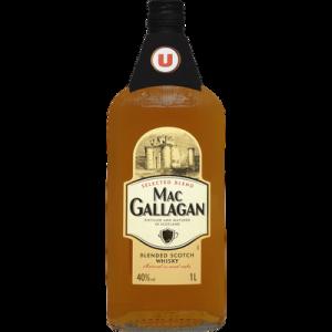 Blended Scotch Whisky 3 ans d'âge Mac Gallagan U, 40°, bouteille de 1l