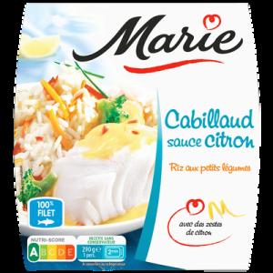 Cabillaud sauce citron et riz aux petits légumes MARIE, 290g
