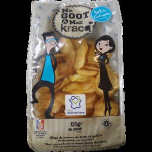 Chips de pommes de terre sel de Guérande MR GOOT& MME KRACQ, sachet de125g