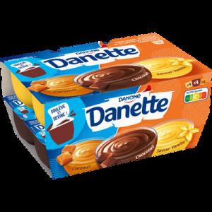 Crème dessert 3 saveurs chocolat, vanille et caramel DANETTE, 12x115g