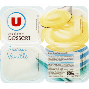 Crème dessert saveur vanille U, 4x125g