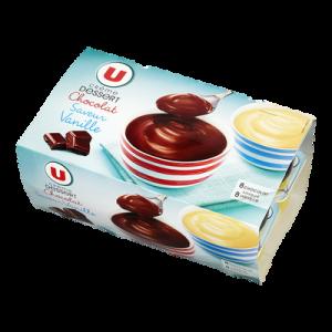 Crème dessert saveurs panachées chocolat-saveur vanille U, 16x125g, 2kg