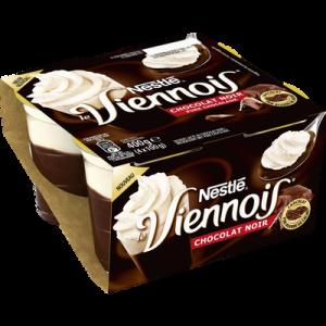 Dessert lacté au chocolat noir Le Viennois NESTLE, 4x100g