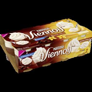 Dessert lacté panaché chocolat vanille LE VIENNOIS, 8 pots de 100g