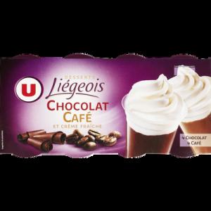 Dessert liégois chocolat et café et crème fouettée U, 8x100g