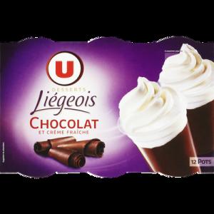 Dessert liégois chocolat et crème fouettée U, 12x100g
