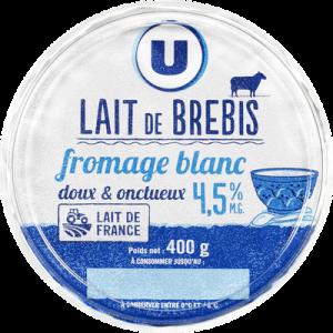 Fromage blanc au lait de brebis U, 4,5% de MG, 400g