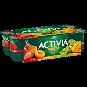 Lait fermenté au bifidus aux fruits panachés abricot, fraise, mangue,kiwi ACTIVIA 8x125g