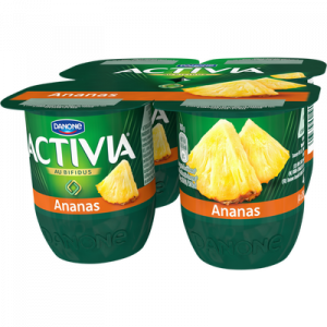 Lait fermenté bifidus ananas ACTIVIA fruits, 4x125g