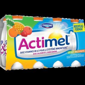 Lait fermenté sucré à boire goût multifruits ACTIMEL, 8x100g