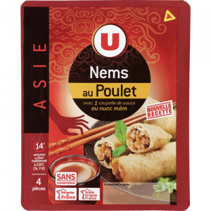 Nems au poulet x4 + sauce nuoc mam, U, 290g