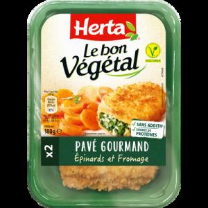 Pavé gourmand, épinards et fromage Bon Végétal HERTA, 180g