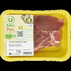 Porc - Côte échine, U BIO, France, 1 pièce 160 g