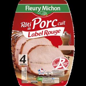 Rôti de porc supérieur cuit Label Rouge FLEURY MICHON, 4 tranches 160g
