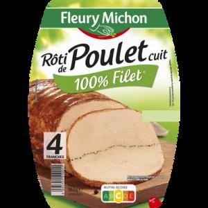 Rôti de poulet cuit FLEURY MICHON, 4 tranches, 160g