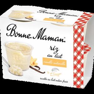 Riz au lait à la vanille naturelle BONNE MAMAN, 4x100g