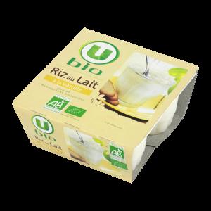 Riz au lait saveur vanille U BIO, 4x100g