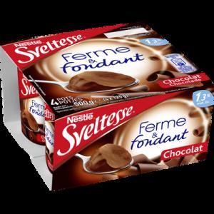 Spécialité laitière sucrée saveur chocolat Ferme & Fondant SVELTESSE, 1.3% de MG, 4x125g