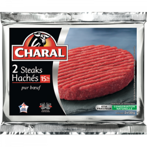 Steack haché, 15% MAT.GR, CHARAL, France, 2 pièces, 260g