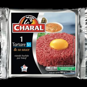 Steak haché rond tartare + 1 dosette de sauce 70g, CHARAL, France, 180g