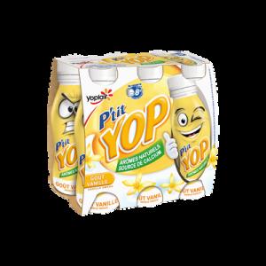 Yaourt à boire sucré aromatisé à la vanille P'TIT YOP, 6x180g