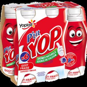 Yaourt à boire sucré aromatisé fraise P'TIT YOP, 6x180g