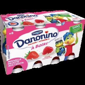 Yaourt à boire sucré aromatisé fraise framboise DANONINO, 8x100g