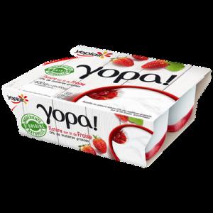 Yaourt yopa sur lit de fraises, 0%MG, YOPLAIT, 4 pots de 100g
