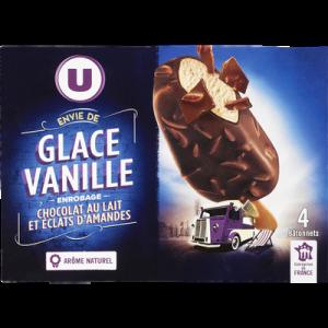 Bâtonnets envie vanille enrobage au chocolat au lait et éclats d'amandes U, 4x263g
