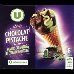 Cônes chocolat pistache U, 6x384g