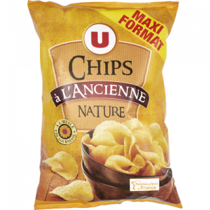 Chips à l'ancienne nature U, sachet de 300g