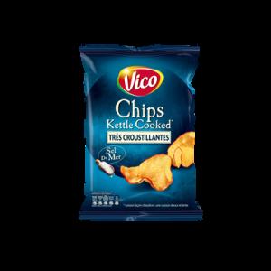 Chips de pomme de terre et au sel de mer kettle cooked VICO, sachet de120g