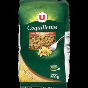 Coquillette au blé complet U, sachet de 500g