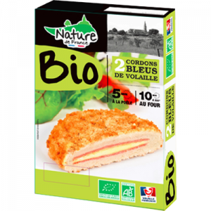 Cordon bleu emmental, BIO, NATURE DE FRANCE, barquette, 200g