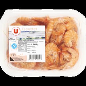 Crevette cuite, Penaeus spp, U, 50 70, élevée en Amérique Sud Centrale, barquette 500g