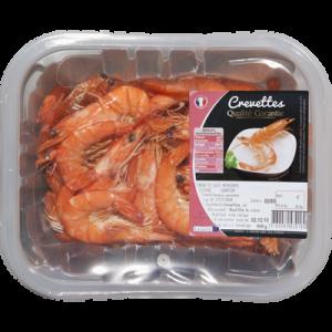 Crevette cuite, penaeus spp., élevée Amérique de Sud, calibre 60 80, barquette 500g