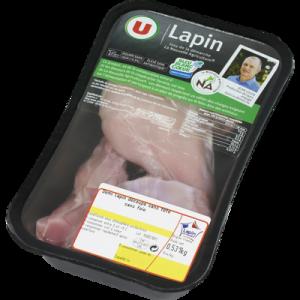 Demi lapin découpé sans tête, sans foie, U, France, 1 pièce 650 g