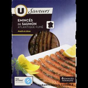 Emincés de saumon à l'aneth et saveur citron U SAVEURS, 6 tranchesminimum, 100g