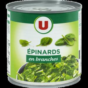 Epinards en branches U, boîte 12, 265g