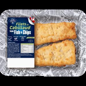 Filet de cabillaud façon fish&chips, transformé en France, barquette 220g