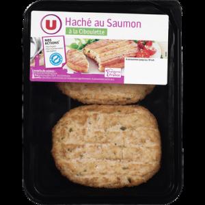 Haché au saumon à la ciboulette, U, trasnformé en France, barquette de200g