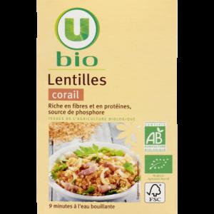 Lentilles corail U BIO, boîte de 500g