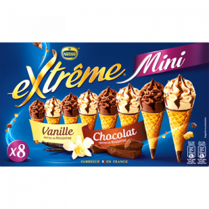 Mini cônes vanille et chocolat EXTRÊME, 8 cônes, 312g